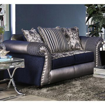Furniture of America Beln Transitional Blue Leatherette Loveseat