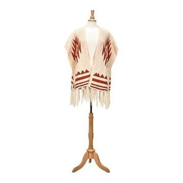 San Diego Hat Company Women's Open Front Aztec Poncho with Fringe BSP3547 Rust - US Women's One Size (Wms Size One Size)