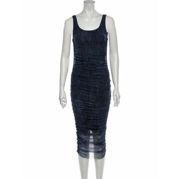 Scoop Neck Midi Length Dress w/ Tags Blue