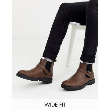 Truffle Collection wide fit buckle chunky boot in brown