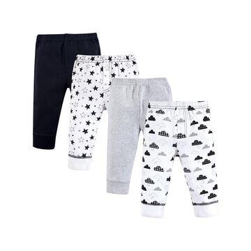 Hudson Baby Casual Pants Moon - White & Black Pants - Set of Four