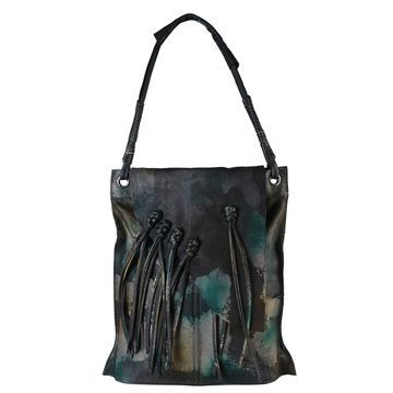 Diophy Fringe Large Genuine Leather Hobo Shopping Tote Handbag