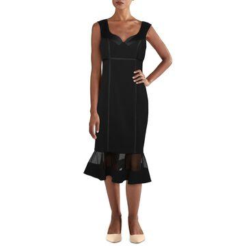 Aidan Mattox Womens Cocktail Dress V Neck Burnout - Black