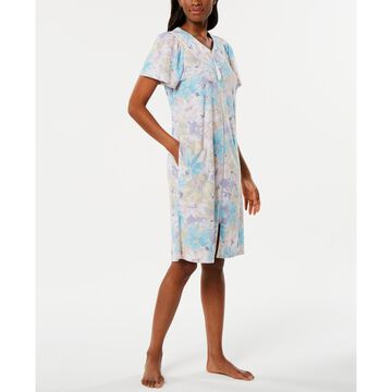 Printed Micro-Terry Zip Robe