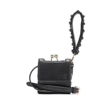 Simone Rocha - Beaded Mini Wristlet-strap Leather Bag - Womens - Black