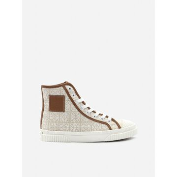 Loewe High Top Sneakers In Cotton Canvas With All-over Anagram Print