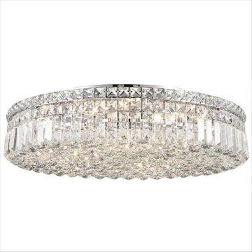 Worldwide Lighting Cascade 24-in Chrome Crystal Flush Mount Light