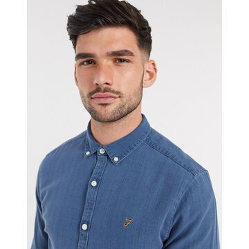 Farah Brewer slim fit denim chambray shirt in blue