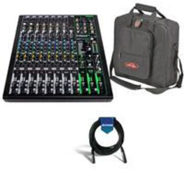 Mackie ProFXv3 12-Channel Professional Effects Mixer with USB + Software Bundle - Bundle With SKB Universal Equipment/Mixer Bag, 15x15x5& Black, 20' Heavy Duty 7mm Rubber XLR Microphone Cable