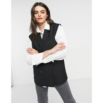 Vila oversized double breasted tailored vest in black