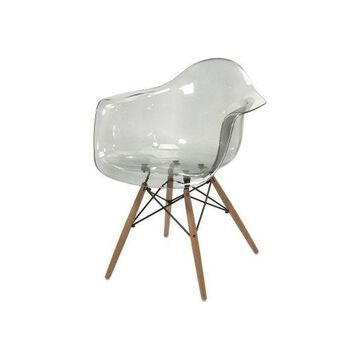 IMAX Home 89524 Beckett Grey Transparent Chair With Wood Leg, Clear