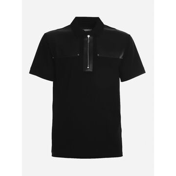 Les Hommes Cotton Polo With Leather Inserts