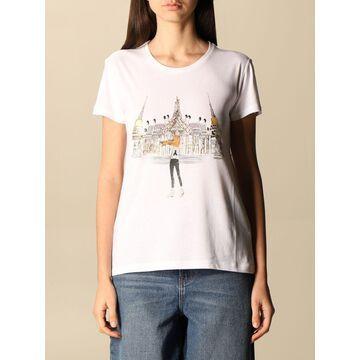 Patrizia Pepe cotton t-shirt with rhinestone logo