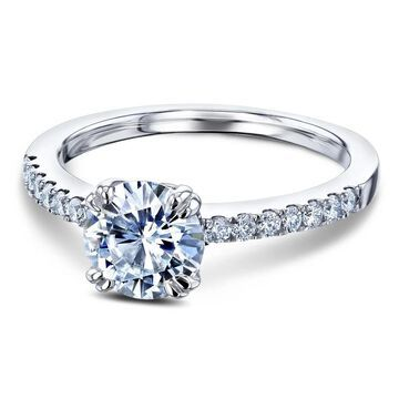 Annello by Kobelli 14k Gold 1-1/5ct.tw Double Prong Solitaire Moissanite and Side Stone Classic Engagement Ring
