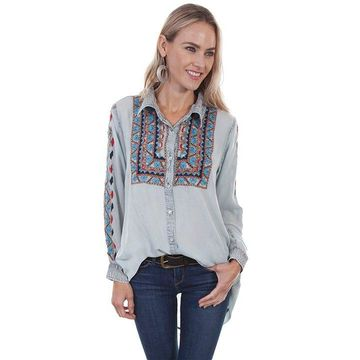 Scully HC331 LBL XL Womens Button Front Embroidered Tunic, Light Blue - Extra Large