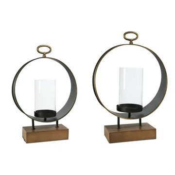 UTC59235: Metal Round Candle Holder with Top Ring Handle and Glass Holder Set of Two Antique Finish Copper