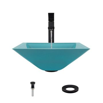 MR Direct Turquoise Tempered Glass Vessel Square Bathroom Sink with Faucet (Drain Included)