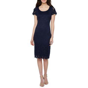 Ronni Nicole Short Sleeve Lace Floral Sheath Dress