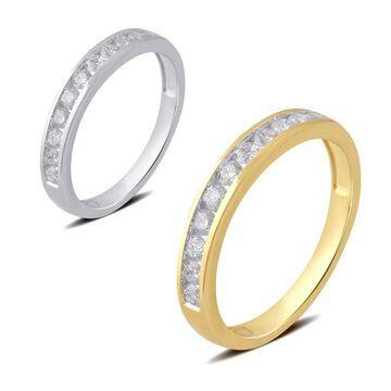 Divina 10K White and Yellow Gold (1/2 ct. TDW) Round Diamond Wedding