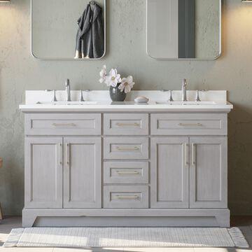 allen + roth Felix 60-in Vintage Gray Undermount Double Sink Bathroom Vanity with White Engineered Stone Top   FELIX-60VG