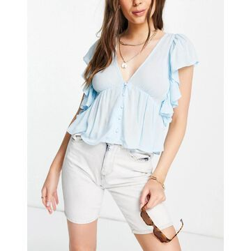 Y.A.S blouse with peplum hem and frill sleeve in blue-Blues