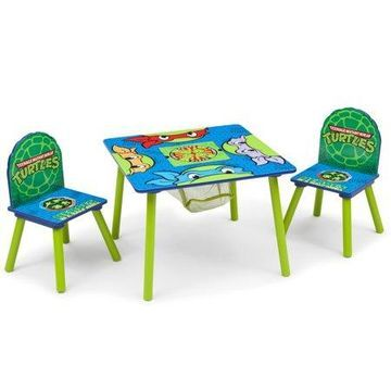 Nickelodeon Teenage Mutant Ninja Turtles Wood Kids Storage Table and Chairs Set by Delta Children