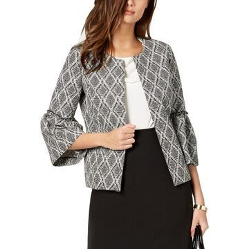 Kasper Womens Open-Front Blazer Bell Sleeves Office Wear