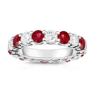 Noray Designs 14K White Gold Ruby & Diamond (4.00 Ct-5.00 Ct, SI2-I1 Clarity) Eternity Ring