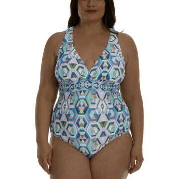 La Blanca Plus Size Cross-Back Tummy-Control One-Piece Swimsuit Women's Swimsuit