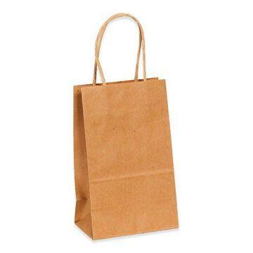 ''Box Partners Paper Shopping Bags 5 1/4'''' x 3 1/4'''' x 8 3/8'''' Kraft 250/Case BGS101K''