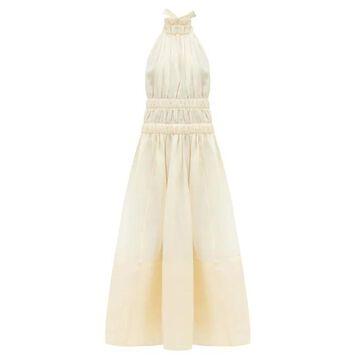 Zimmermann - Halterneck Gathered Linen-blend Organza Dress - Womens - Ivory