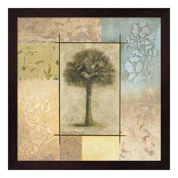 """Metaverse Art Palm Woodcut I Framed Wall Art, Brown, 12""""X12"""""""