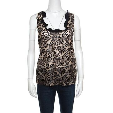 Emanuel Ungaro Black And Beige Foliage Embroidered Sleeveless Top L