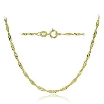 Mondevio 14k White Gold 1.4mm Singapore Italian Chain Necklace, 24 Inches (Yellow)