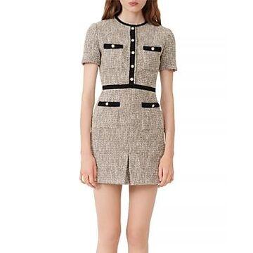 Maje Rinie Contrast Trimmed Tweed Mini Dress