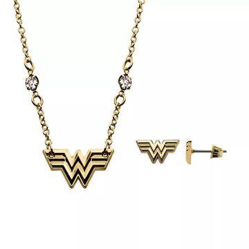 DC Comics Wonder Woman 1984 Gold Tone Stainless Steel Logo Pendant & Stud Earring Set, Women's