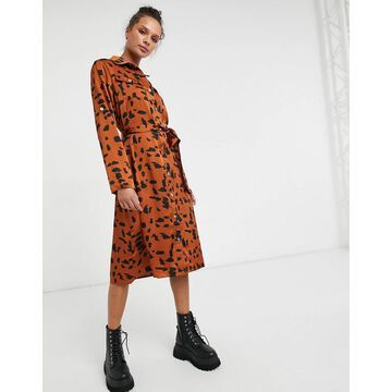 Liquorish midi shirt dress in brown and black print