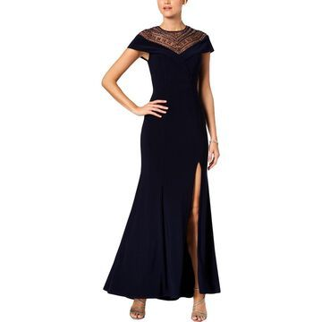 Xscape Womens Evening Dress Beaded Cap Sleeves