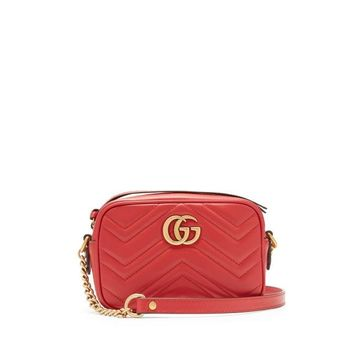 Gucci - Gg Marmont Mini Quilted-leather Cross-body Bag - Womens - Red