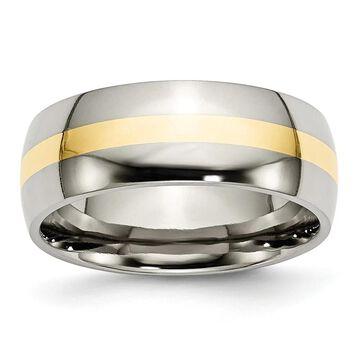 Chisel Titanium 14K Yellow Inlay 8mm Polished Standard Fit Wedding Band (13)