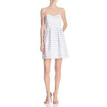 Ella Moss Womens Strapless Striped Casual Dress