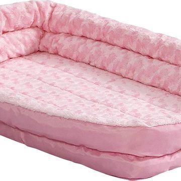 MidWest Quiet Time Fashion Plush Double Bolster Pet Bed & Crate Mat