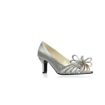 Caparros Womens Diandra Silver Peep Toe Heels Size 5.5