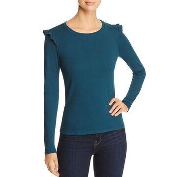 Three Dots Womens Cotton Ruffled T-Shirt