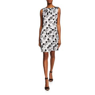 Dot-Print Sleeveless Charmeuse Shift Dress w/ Paillette Trim