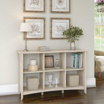 Bush Furniture Salinas Wood 6 Shelf Cube Organizer in Antique White