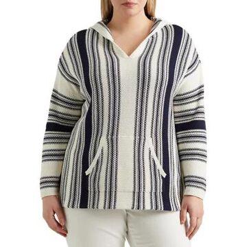 Chaps Women's Plus Size Striped Hooded Sweater - -