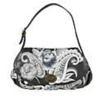 Anuschka Hand-Painted Leather Ruched-Flap Bag - Peonies and Paisleys Black