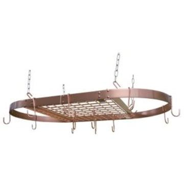 Range Kleen Copper Plated Oval Ceiling Pot Rack