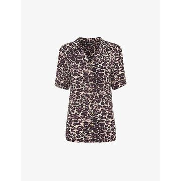 Whistles Womens Multicolour Leopard-print Relaxed-fit Woven Shirt 12